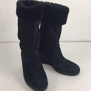 Ugg Joslyn Black Sheepskin Fur Wedge Heel Boots 7